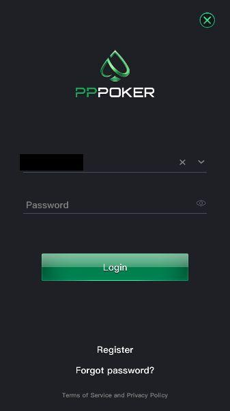 Pppoker login screen
